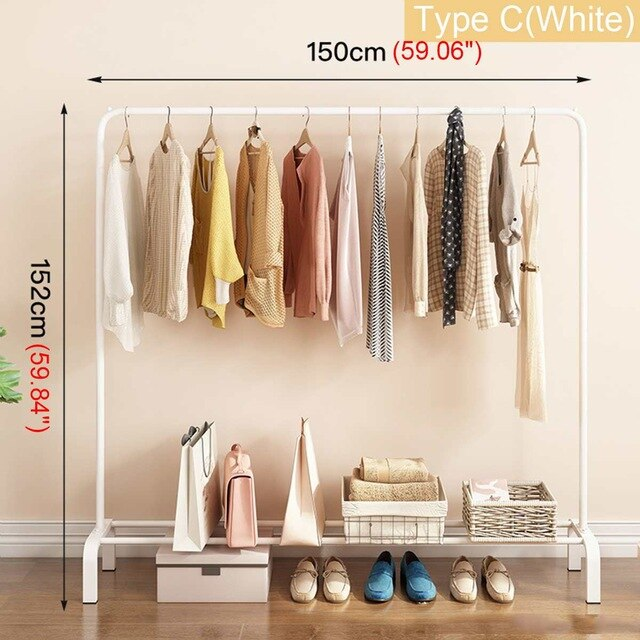 Simple Drying Rack Pole Coat Hanger Indoor Metal Clothing Rack Home Bedroom Storage Wardrobe Clothing Balcony Coat Rack 3 Types-BUYALL20