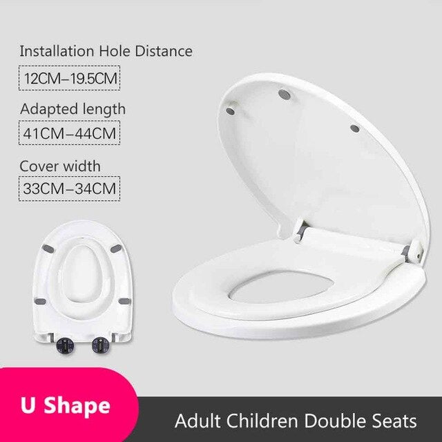 Double Layer Adult Toilet Seat Child Potty Training Cover Prevent Falling Toilet Lid For Kids PP Material Slow-Close Travel Pot-BUYALL20