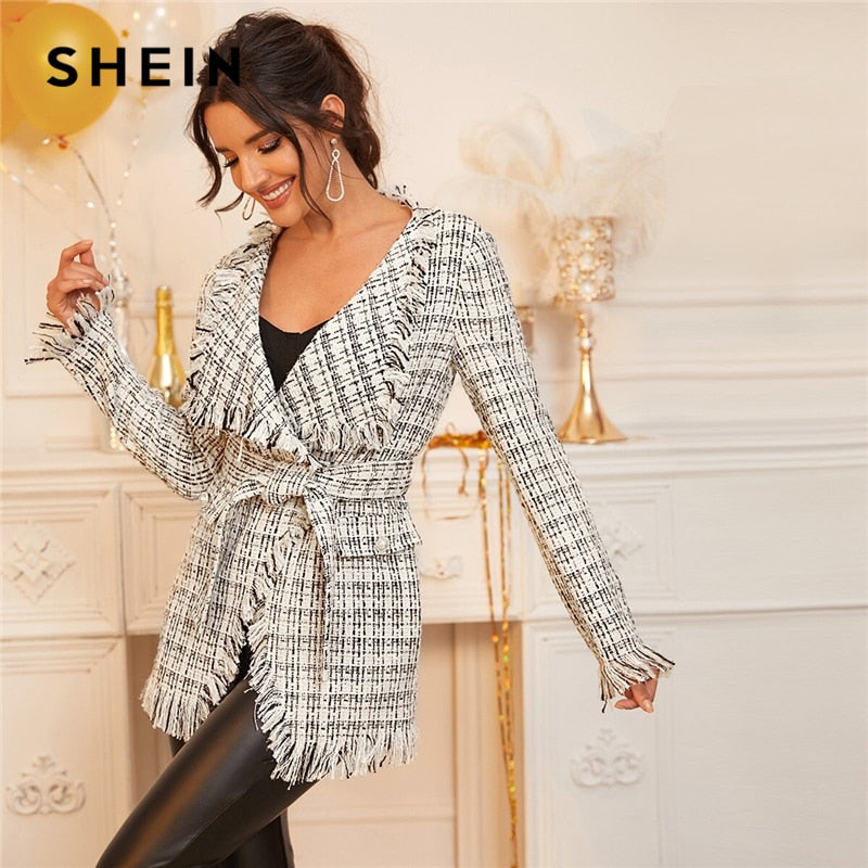 SHEIN Black And White Waterfall Collar Tweed Wrap Elegant Coat With Beit Women 2019 Spring Long Sleeve Plaid Frayed Edge Outwear-BUYALL20