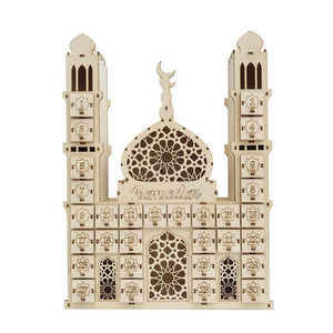 Countdown Battery Operated Muslim DIY Palace EIDMUBARAK RAMADAN Office Date Ornament Gift Led Wooden Calendar Crafts Home Decor-BUYALL20