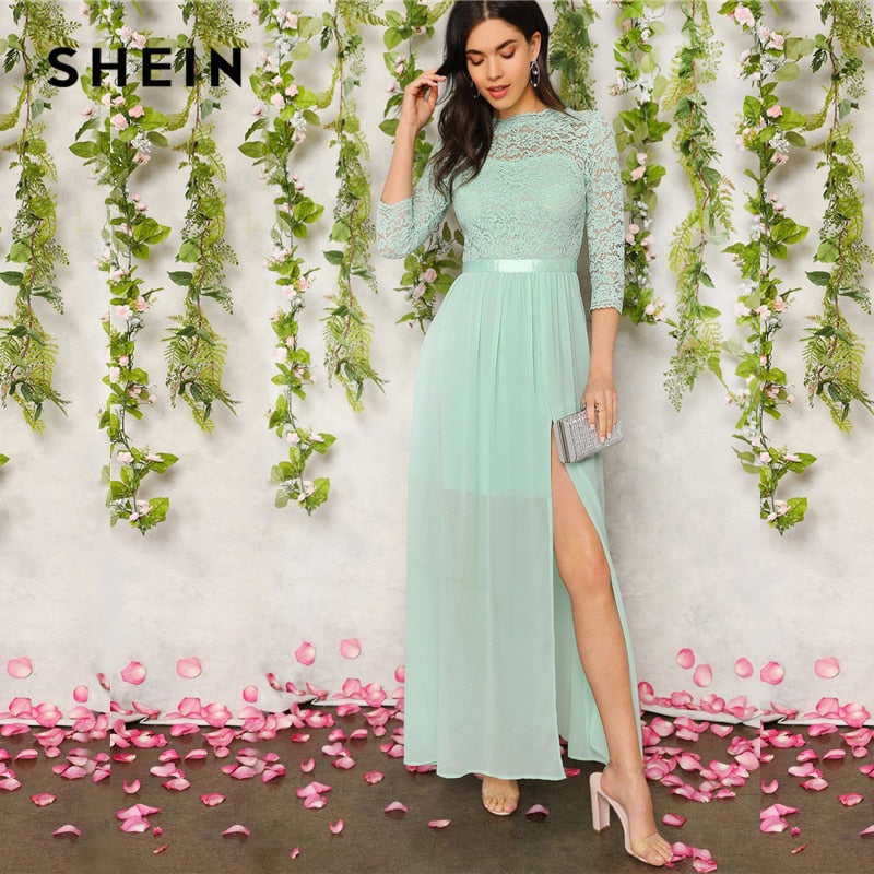 SHEIN Green V Back Split Thigh Sheer Lace Summer Party Maxi Dress Women Elegant Ribbon Waist Fit and Flare A Line Empire Dresses-BUYALL20