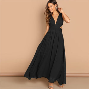 SHEIN Green Plunge Neck Crisscross Waist Ball Dress Elegant Plain Fit and Flare Dress Women Autumn Modern Lady Party Dresses-BUYALL20