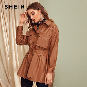 SHEIN Brown Flap Pocket Front Faux Leather Belted Coat Women Spring Winter Solid Long Sleeve Casual Outwear PU Coats-BUYALL20