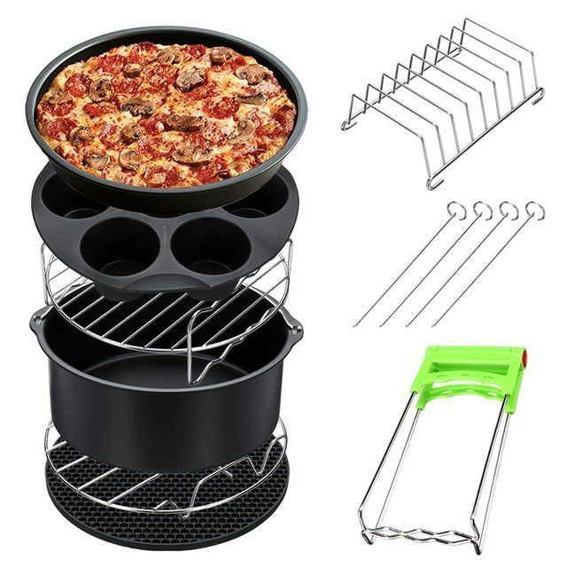 New 8Pcs 8 Inch Air Fryer Frying Cage Dish Baking Pan Rack Pizza Tray Pot Accessories Fit For 5.2~5.8Qt-BUYALL20