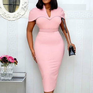 Vintage African Women Pink Office Midi Dress 2020 Summer New Short Sleeve Bodycon Elegant Clothes Ladies Party Dresses 2XL-BUYALL20