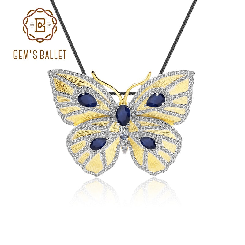 GEM'S BALLET Elegant Women Brooch Pendant 925 Sterling Silver Gold Plated Naturally Diffused Sapphire Butterfly Fine Jewelry