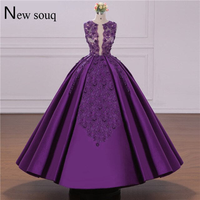 Real Image Purple Evening Dress Puffy Prom Dresses Custom Made Jordan Dubai Arabic Party Gowns Lace Applique Middle East Women