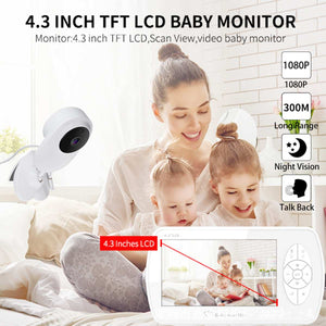 4.3 inch 2MP 1080P Wireless LCD Audio Video Baby Monitor Radio Nanny Night Vision IR Portable Baby Camera Baby Babysitter
