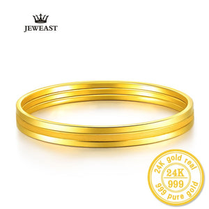 24k Pure Gold Bangle For Women Female Trendy Fashion Smooth Worn Classic Bracelet Upscale Hot Fine Jewelry Solid 999 Bangles
