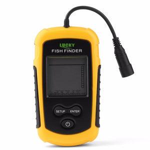 Portable Fish Finder Sonar Sounder Alarm Transducer Fishfinder 0.7-100m Fishing Echo Sounder with Battery with English Display-BUYALL20