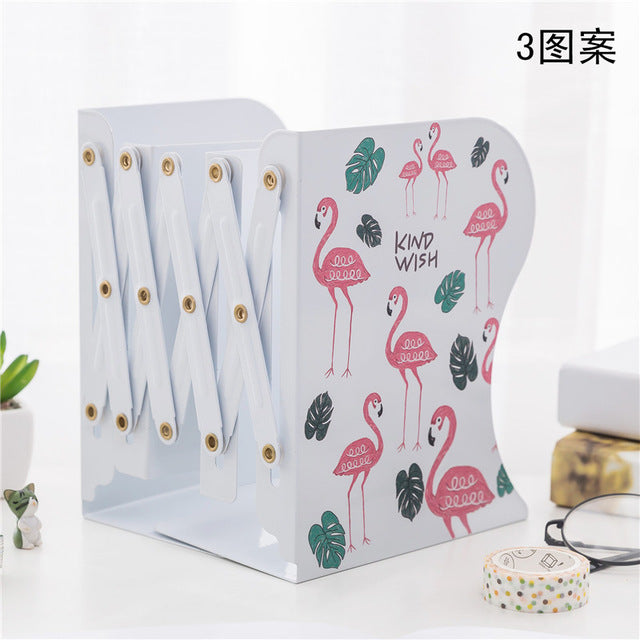 Creative Fashion Telescopic Flamingo Design Bookshelf Large Metal Bookend Desk Holder Stand for Books Organizer Gift Stationery-BUYALL20