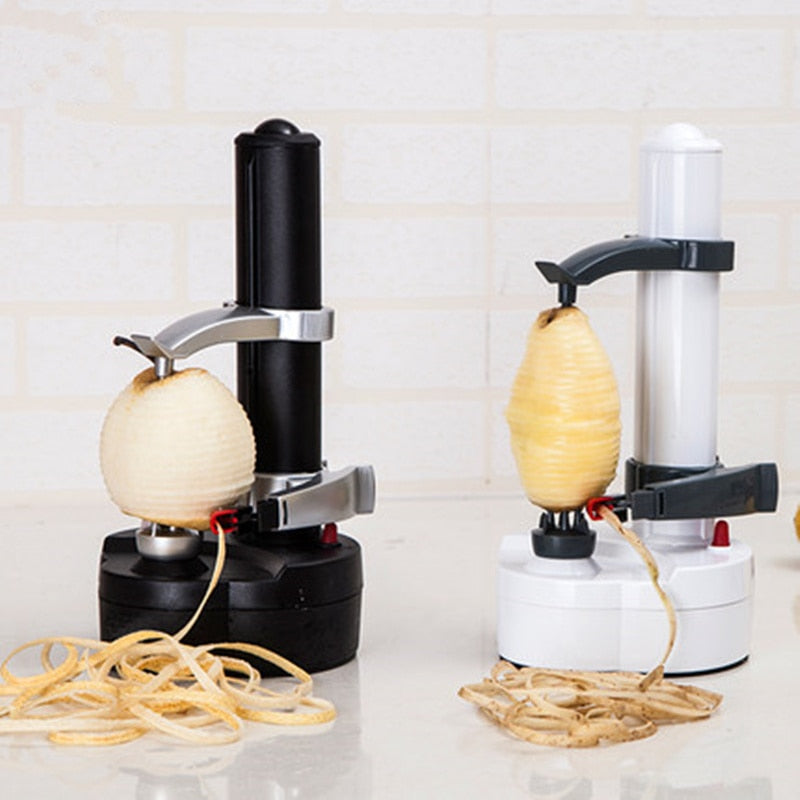 New Electric spiral Apple Peeler Cutter Slicer Fruit Potato Peeling Automatic Battery Operated  Machine with charger eu plug
