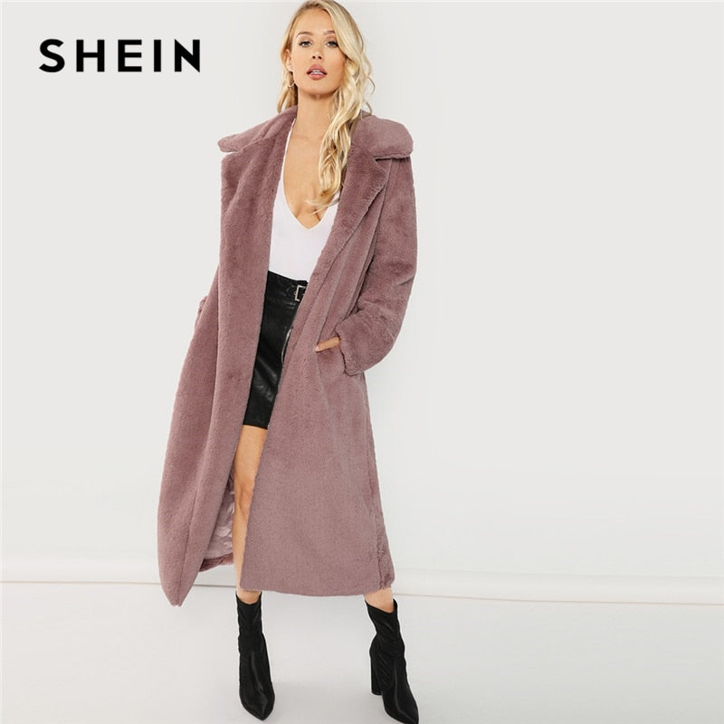 SHEIN Pink Office Lady Elegant Open Front Longline Faux Fur Teddy Solid Coat 2018 Autumn Minimalist Women Coats Outerwear-BUYALL20
