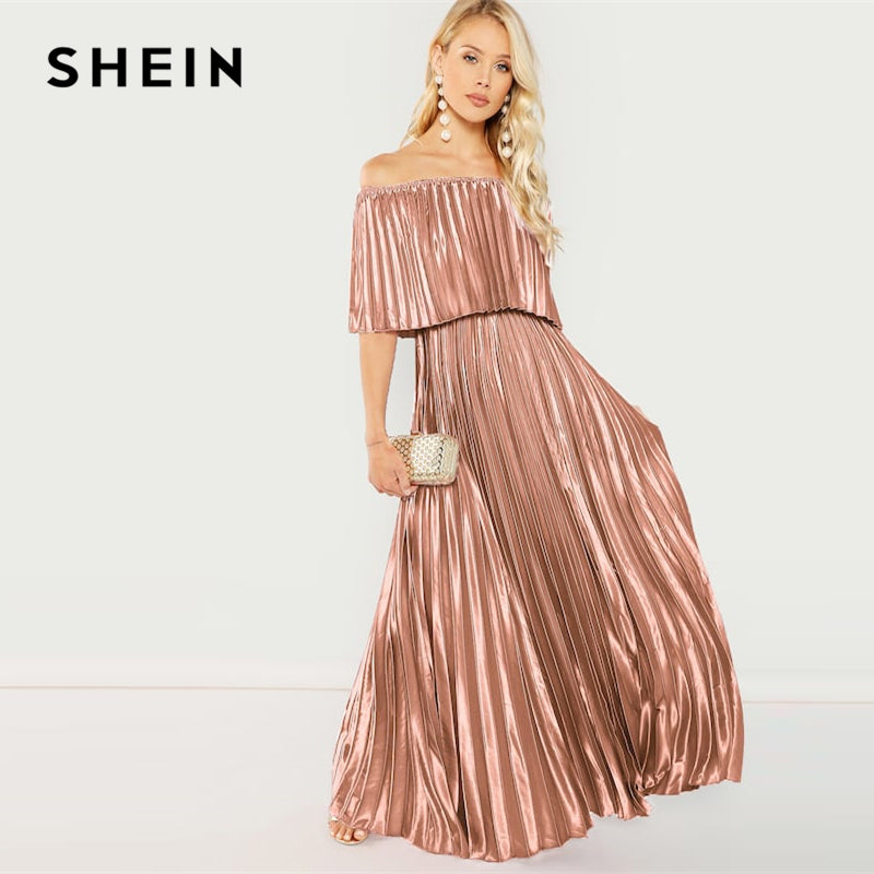 SHEIN Flounce Foldover Front Off Shoulder Pleated Ruffle High Waist Maxi Dress Women 2019 Spring Elegant Pink Party Dresses-BUYALL20