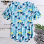 Chic Summer Clothes Men T Shirts Baggy Beach Loose T-Shirt Bright Tropical Short Sleeve V-Neck Camisa Tee Tops S-5XL Masculina-BUYALL20