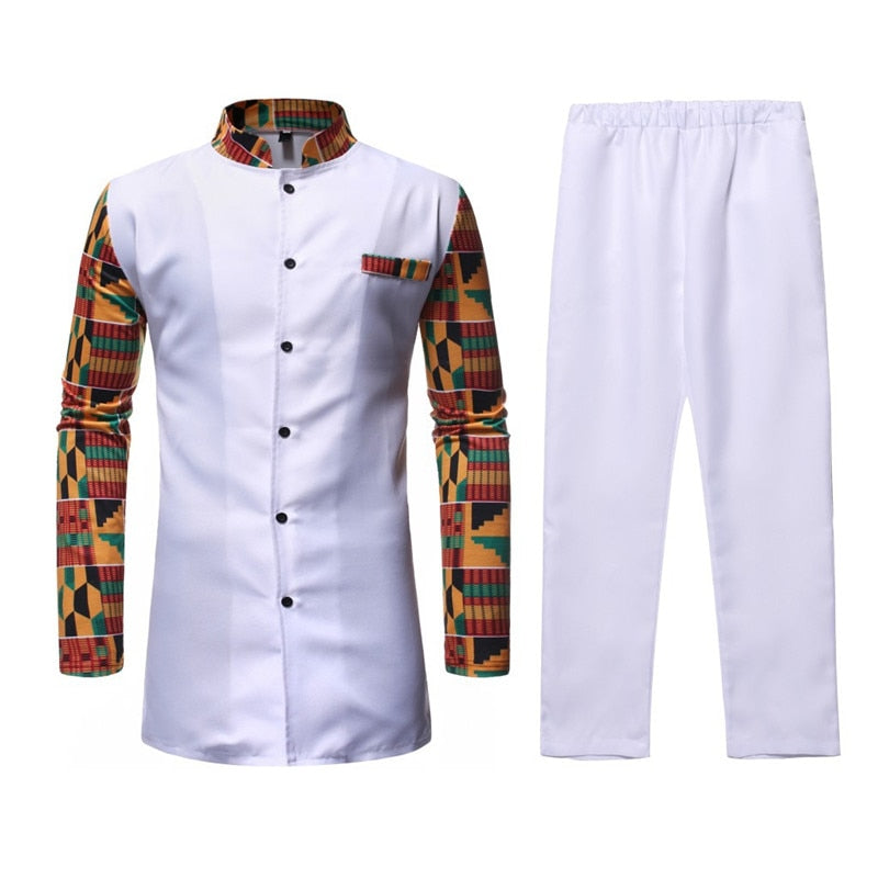 White Afriacn Dashiki Dress Shirt Pant Set 2 Pieces Outfit Set Streetwear Casual Men African Clothes African Suit Men Chemise-BUYALL20