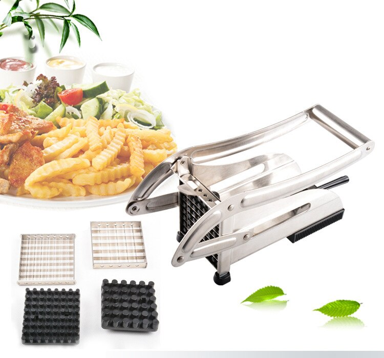 New upgrade Stainless steel potato cutter machine Home Fry Fries Potato chipper slicer maker  +2 blades kitchen accessories