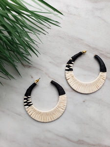 Black & White Large Woven Hoops