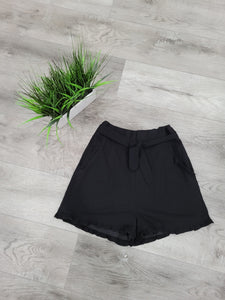 Black Ruffle High Waisted Shorts