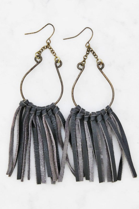 Leather Fringe Tassel Drop Earrings