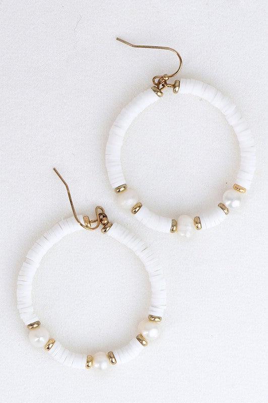 White Flat Disc Bead Earrings