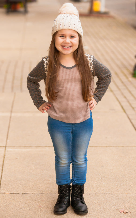 Kids Animal Print Sleeve Waffle Top