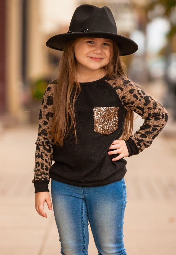 Girls Leopard Raglan Top