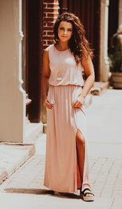 Blush Loose Fit Front Slit Maxi