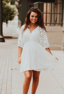 White Lace Dress w/ Tie Back-One MD Left