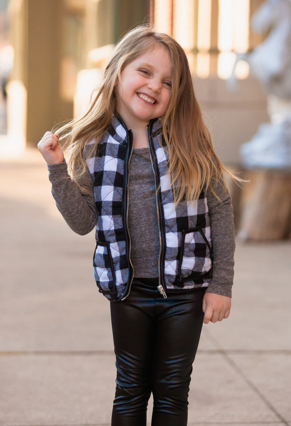 Toddler Black & White Buffalo Plaid Vest