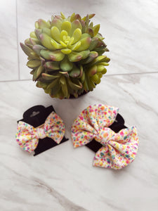 Confetti Dotted Fabric Hair Bow