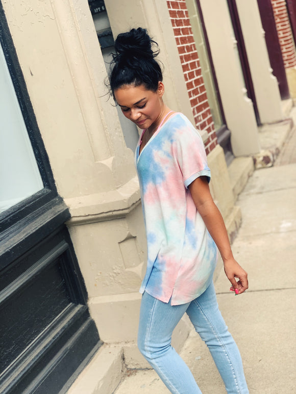So Soft V-Neck Tie Dye Tee (Multiple Color Options)