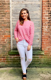 Bubble Pink Distressed Sweater