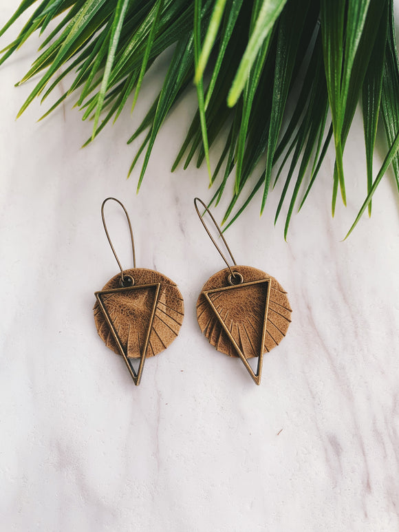 Beige Leather Earrings