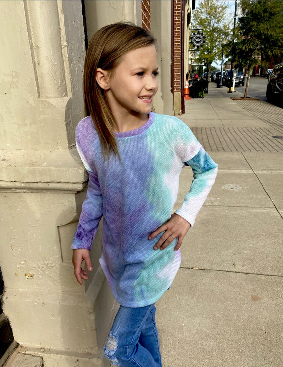 Kids Tie Dye High Low Tunic Top