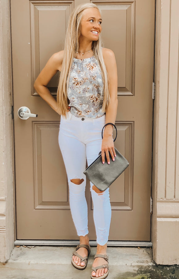 Floral & Gold Accent Floral Sleeveless Top
