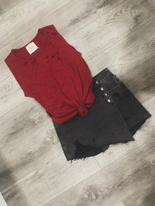 Black Distressed Skort-One Left LG