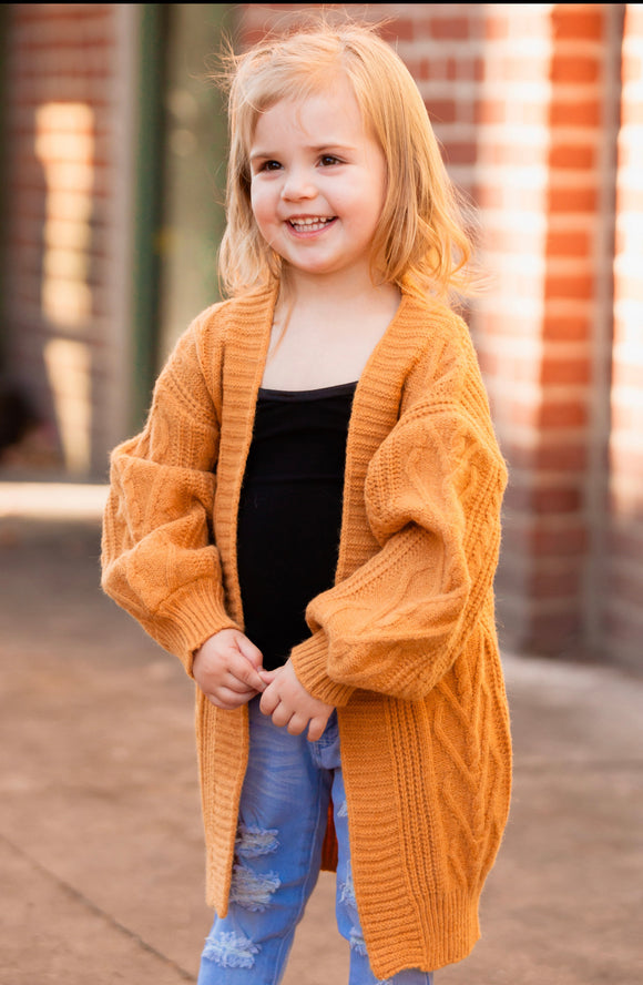 Toddler Brushed Cardigan in Dark Honey