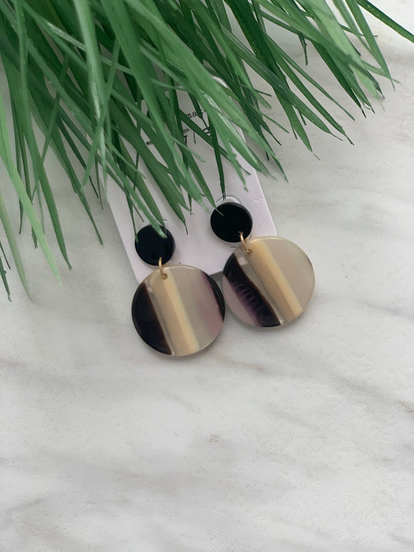 Double Circle Striped Earrings