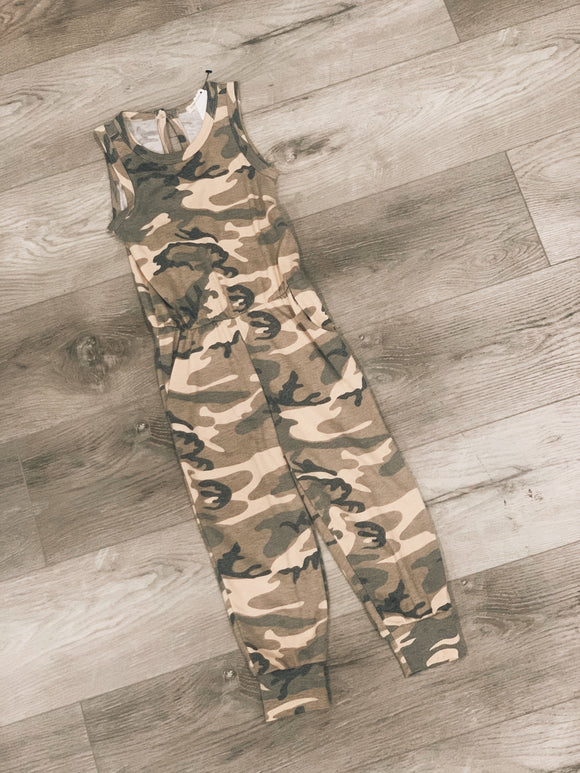 Kid's Camo Vintage Washed Jumpsuit