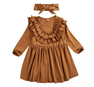 The Madeline Dress w/ Headband-Camel