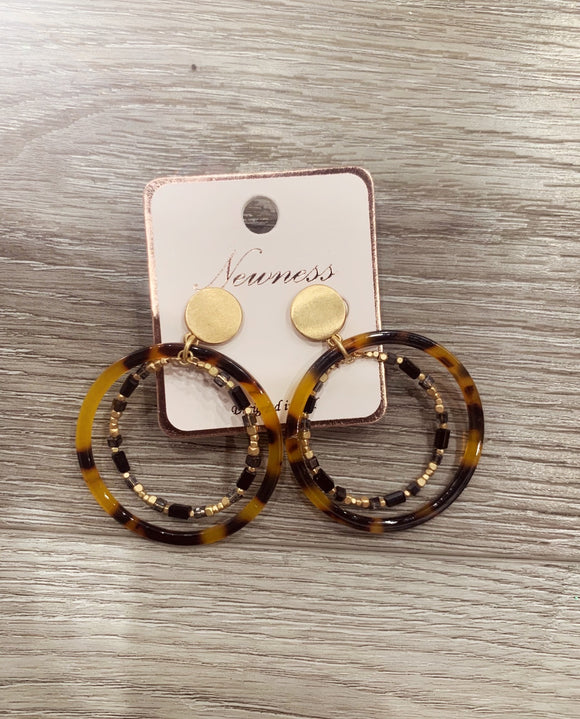 Round Layered Acetate Glass Earrings