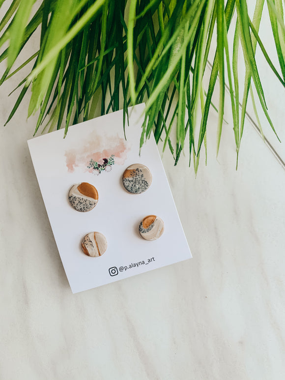 Mommy & Me Bronzed Clay Studs