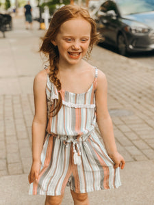 Multi Striped Romper-Preteen/Girls