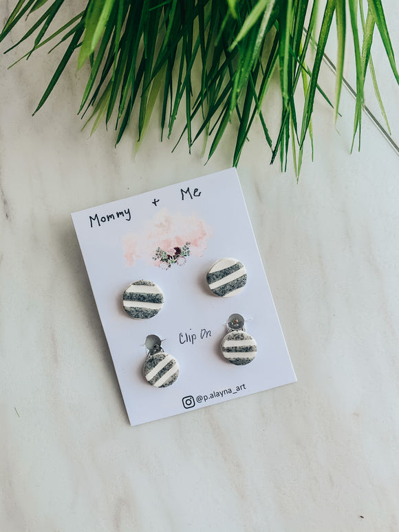 Mommy & Me Striped Clay Stud Earrings