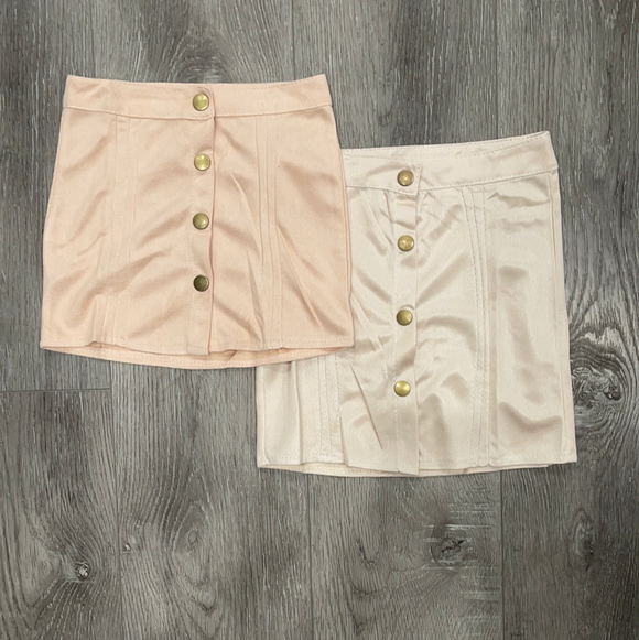 Toddler Button Suede Mini Skirt