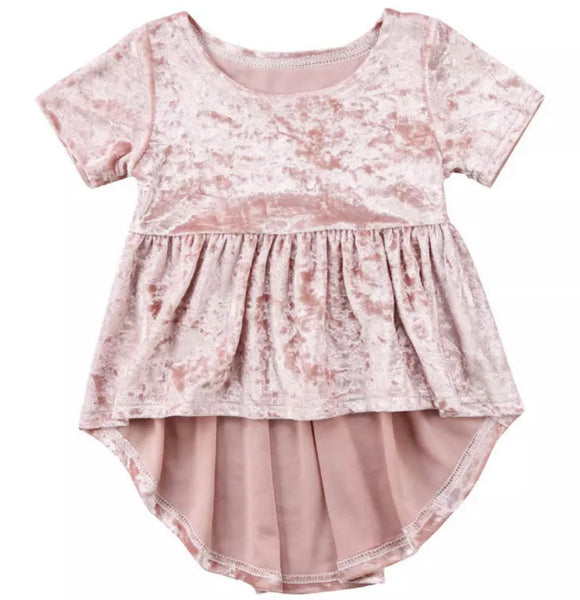 Blush Velour High Low Top-One Left (12-18mo)