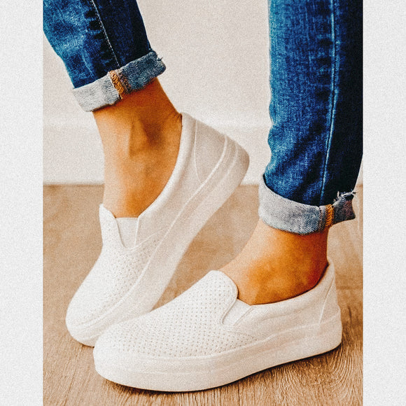 White Platform Slip On Sneaker