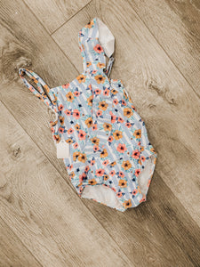 Kid's/Toddler Blue Striped Floral Swimsuit