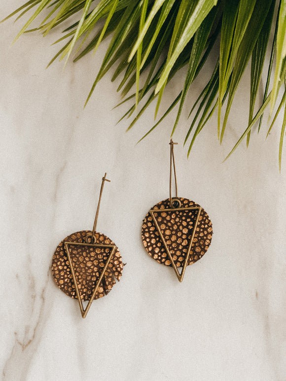 Bronzed Leather Earrings